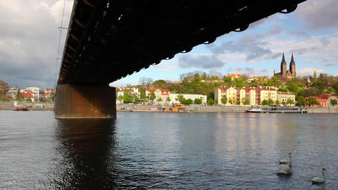 Old iron railway bridge in Prague,Czech Republic