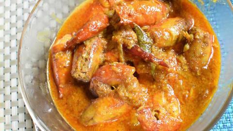 Prawn Indian food dish static shot Footage