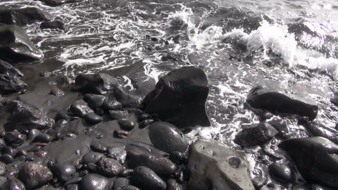 Waves on stony beach Footage