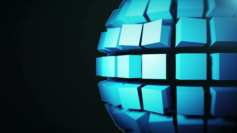 Abstract background with technology sphere. Seamless loop