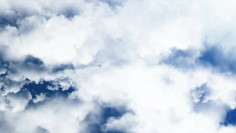 Flying through clouds. 3D rendering. Seamless loop Animation