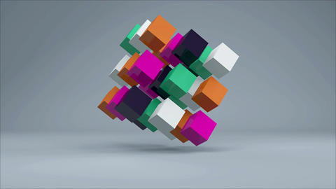 3D Cube. Colorful cubes on grey background. Seamless loop Animation