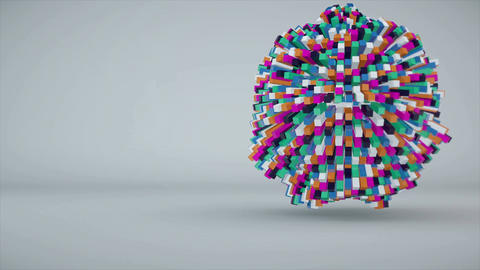 Colorful cubes making up the sphere. Seamless loop Animation