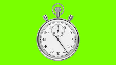 Animation stopwatch on a green background Stock Video Footage