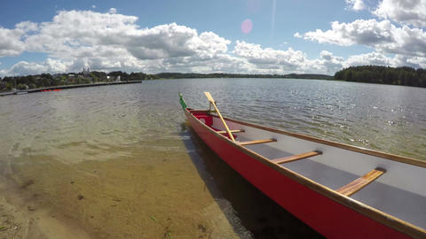 Tourist rowing boat by the lake, time lapse 4k Footage