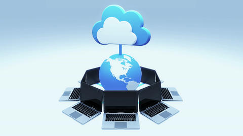 4k,Update the informative cloud,rotate earth and laptop,Cloud Computing Concept Live Action