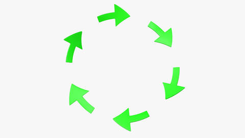 Six green rotating arrows. (loop ready with mask) Animation