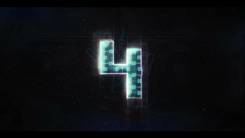 Glitch Countdown HUD Stock Video Footage