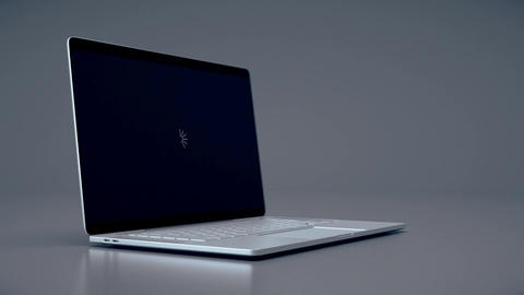 Modern laptop animation. Highly detailed aluminum laptop animation Footage