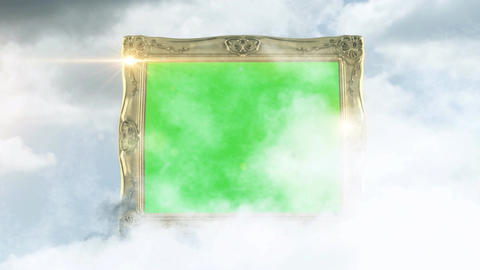 Golden picture frames with green screen background fly by Animation