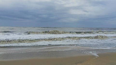 Stormy sea waves roll to the beach Footage