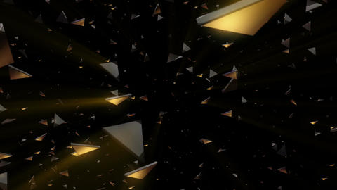 Numerous shiny triangles flowing in front Animation
