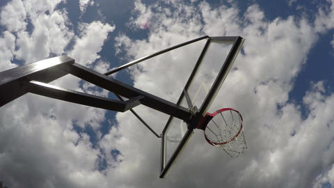Basketball hoop shot from beneath, time lapse 4K Footage