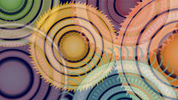 Abstract colored jagged circles rotating Animation