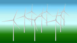 Animation of field of wind power stations at simple background Animation