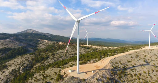 Group of Wind Turbines Poi Footage Footage
