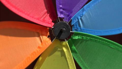 Rainbow windmill turning, 4K Footage