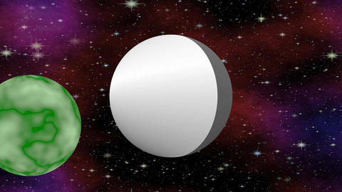 Cosmos fiction video with silver UFO and green flying planet, 4k video Animation