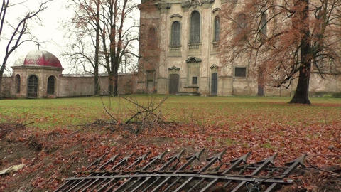 Abandoned church ruins with in retro dark vintage style Footage