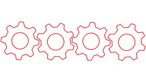 Gears in red side by side loopable Animation