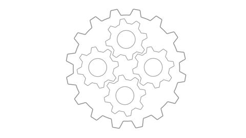 Gears inside gear loopable Grey Animation