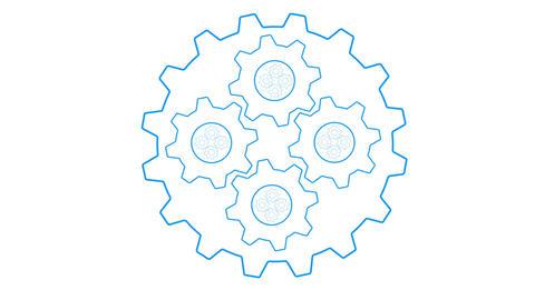 Gears inside gears loopable blue Animation