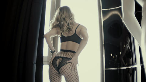 Closeup Of A Sexy Girl In Lingerie Stroking The Thigh And Dancing Erotic Dance Footage
