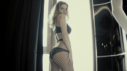 Slow Motion Sexy Female Dance In Black Erotic Lingerie Live Action