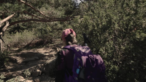 Tracking shot of woman hiking in the mountains ビデオ