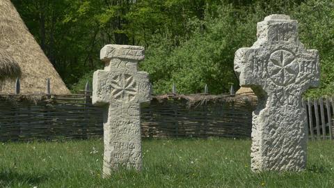 Primitive Christian Stone Crosses Footage