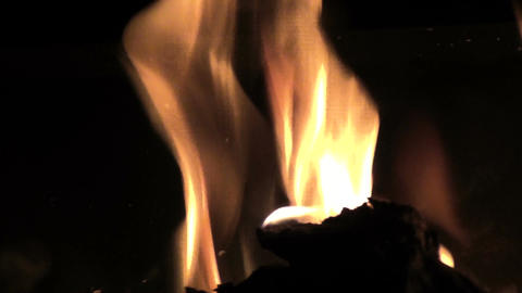 Close up of Flames in a Stove Live Action