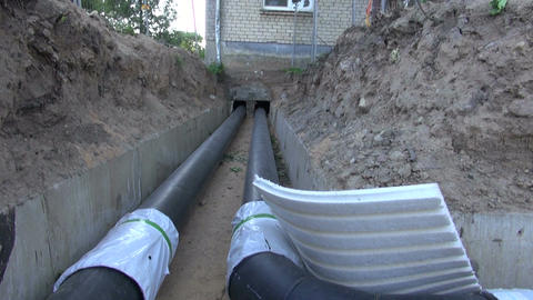 Plastic water pipes in a ditch Footage