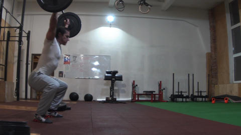 Slow Motion Man Lifting Weights Footage