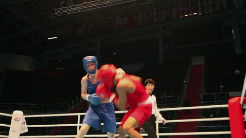 Boxing match with sound, tracking shot ビデオ