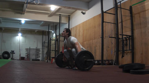 Male Athlete Olympic Barbell Weightlifting Footage
