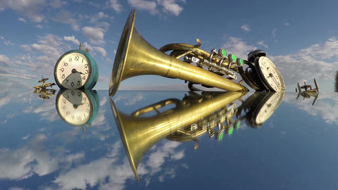 Two clocks and a trumpet on the mirror beneath the cloudy sky, time lapse 4K Footage