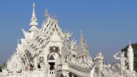 Buddhist White Temple Entrance Chiang Rai Thailand 4k Footage