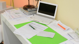 Medical Work Desk With Computer stock footage