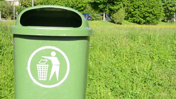 trash can with nature Footage