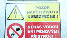 safety warnings on the fuse box (Czech language) Footage