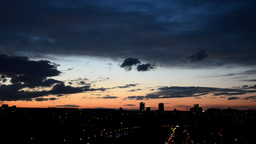 sunset city - Prague, Czech Republic. Night clouds Footage