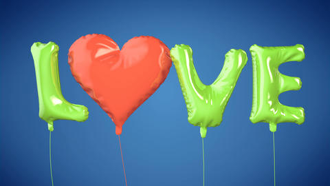 Balloons create LOVE word. Valentine's Day Animation