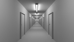 Endless white corridor with doors seamless loop 4K Live Action