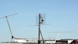 antenna on the roof with blue sky Footage