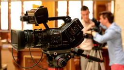 television cameras - cameraman set camera (studio) - historic interior in backgr Footage