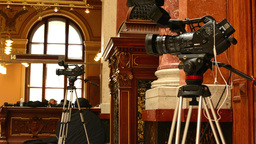 television cameras (historic building) - historic interior in background Footage