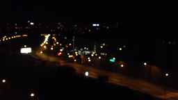 night city - street with street lamps - blurred shot Footage