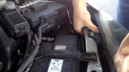 Man Repairs Motor In The Car stock footage