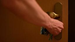man locks the door Footage