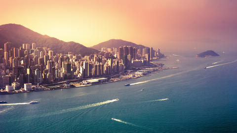 Aerial panorama view of Hong Kong Island at sunset. Modern financial and cultura Footage